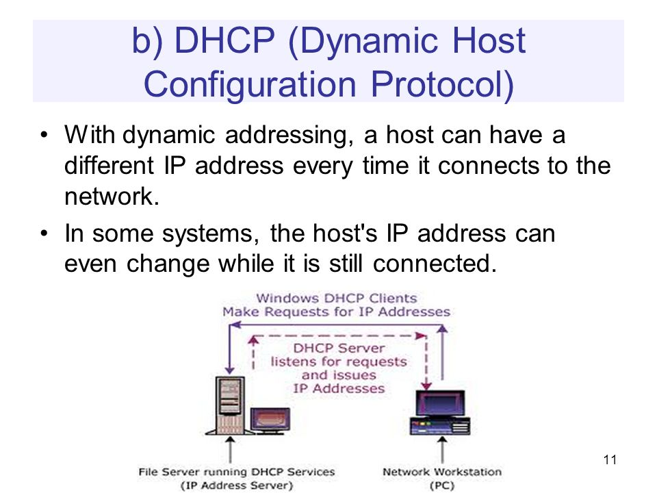 b) DHCP (Dynamic Host Configuration Protocol) With dynamic addressing, a host can have a different IP address every time it connects to the network.