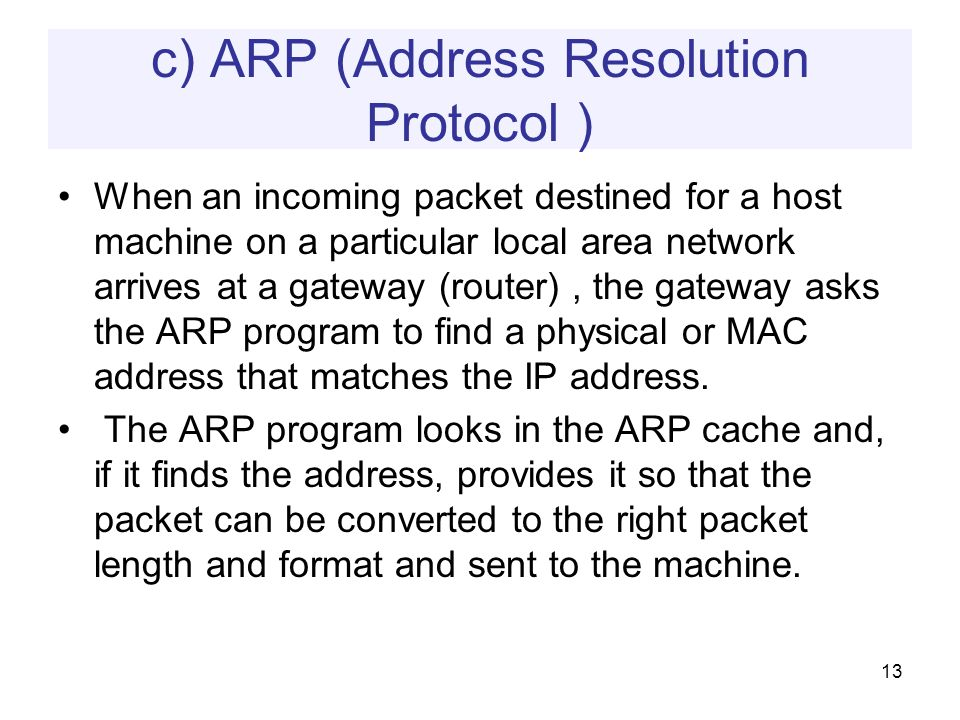 c) ARP (Address Resolution Protocol ) When an incoming packet destined for a host machine on a particular local area network arrives at a gateway (router), the gateway asks the ARP program to find a physical or MAC address that matches the IP address.