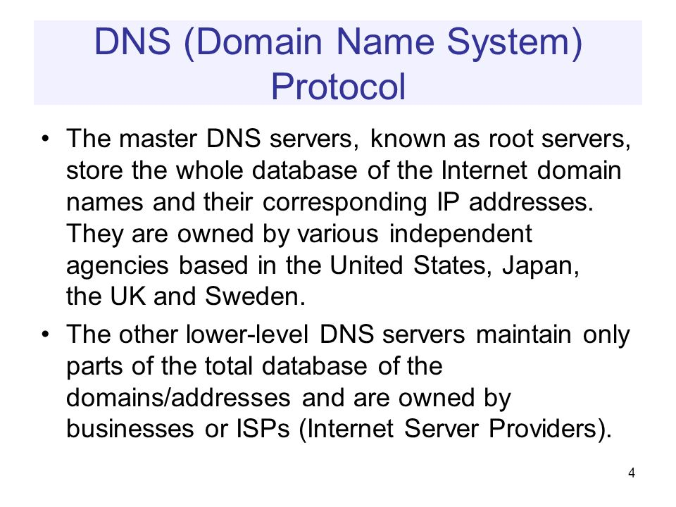 DNS (Domain Name System) Protocol The master DNS servers, known as root servers, store the whole database of the Internet domain names and their corresponding IP addresses.