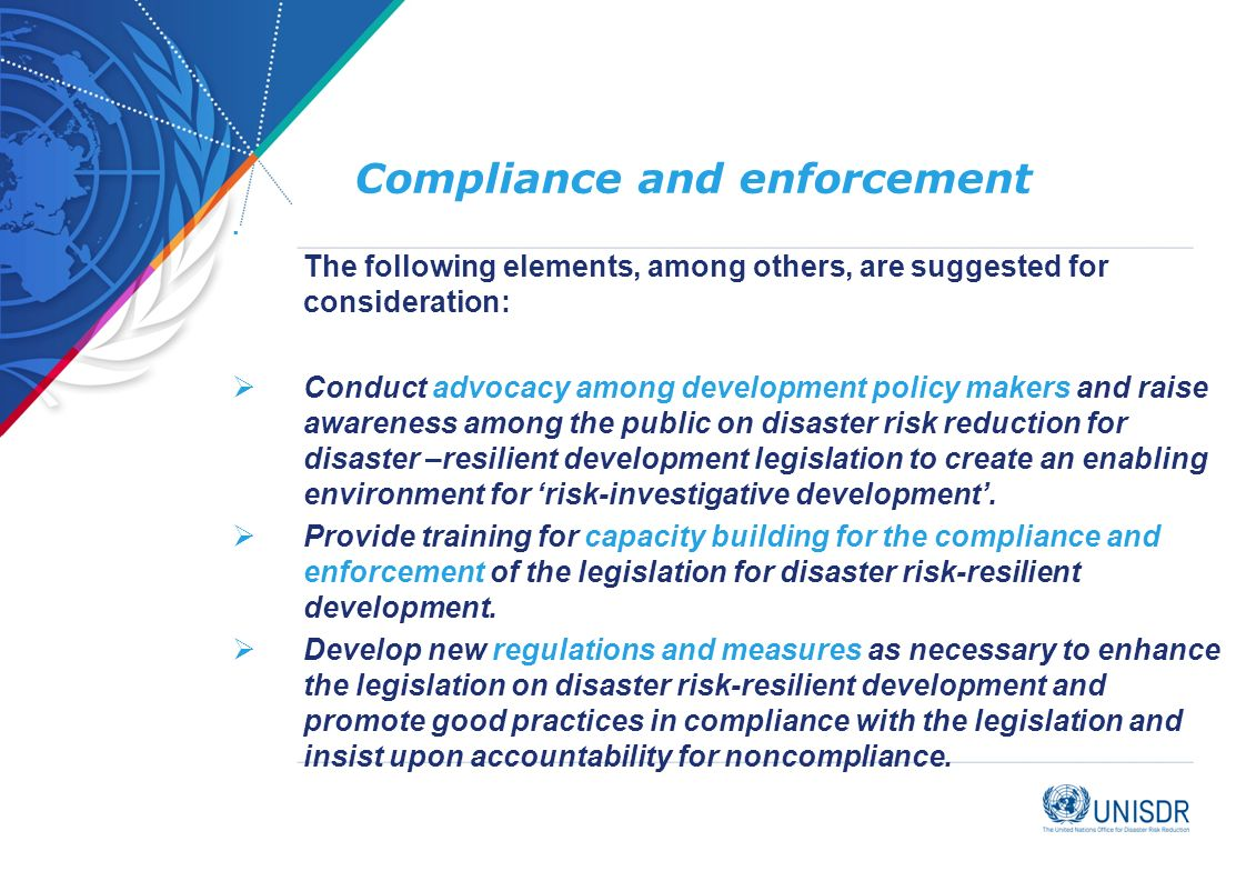 Compliance and enforcement.
