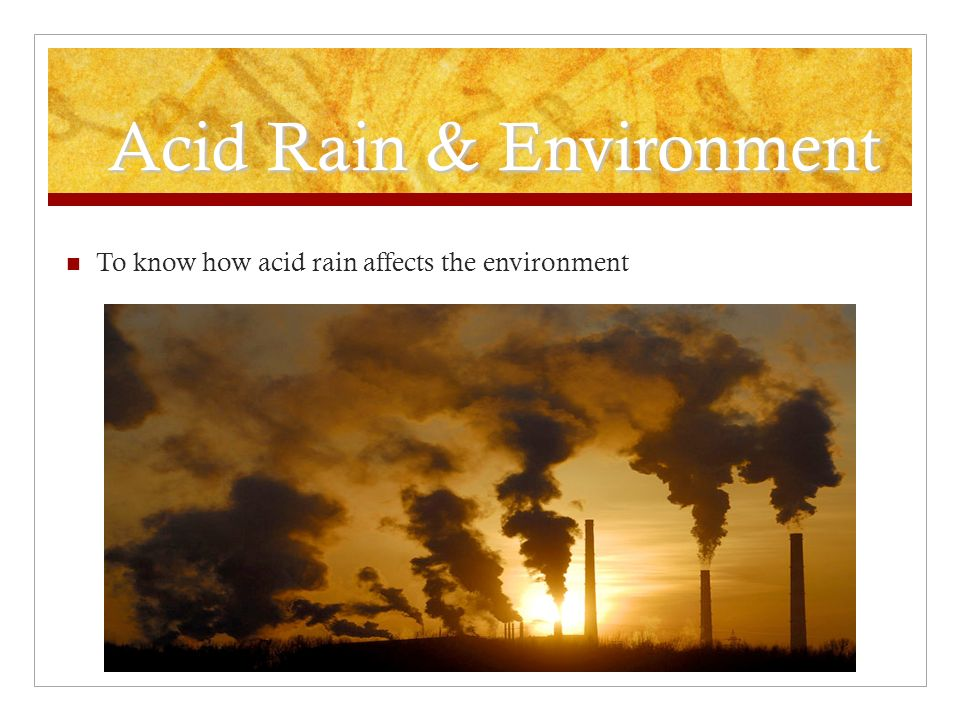 Acid Rain & Environment To know how acid rain affects the environment