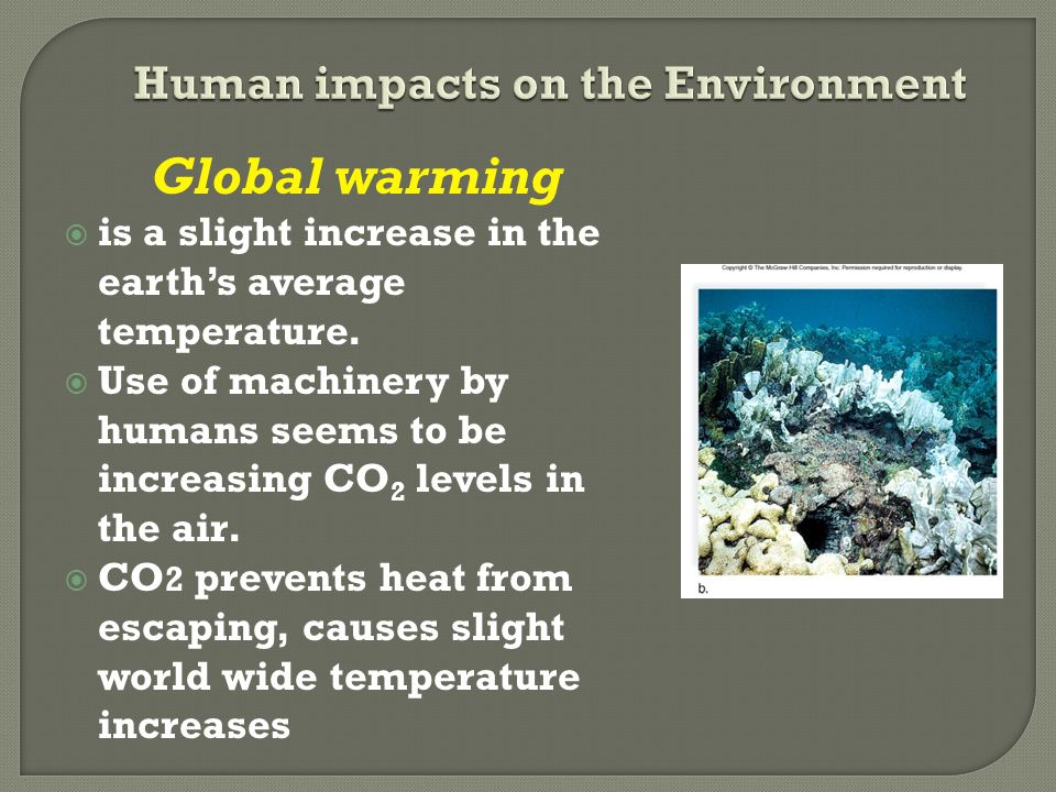 Global warming  is a slight increase in the earth's average temperature.