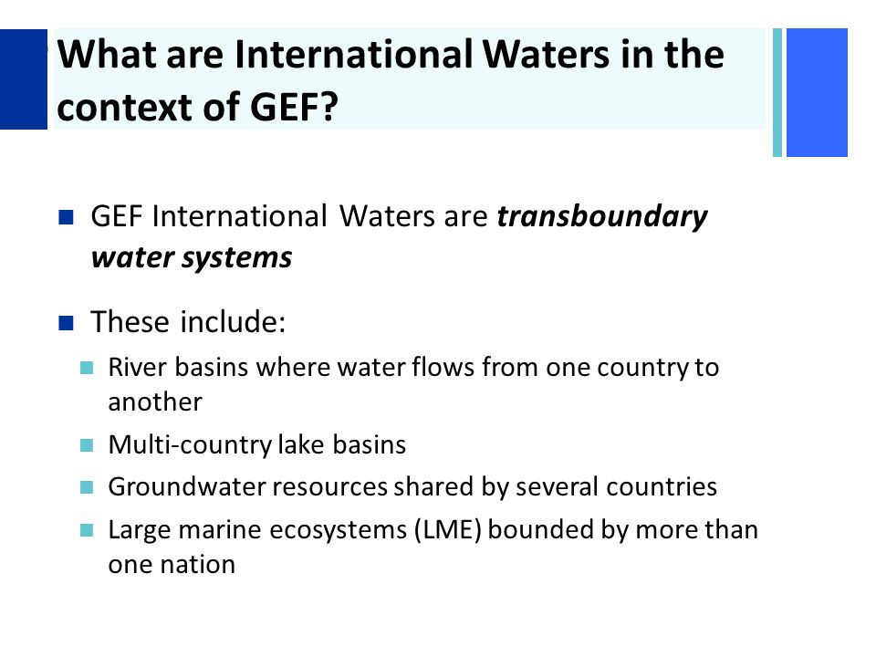 + What are International Waters in the context of GEF.