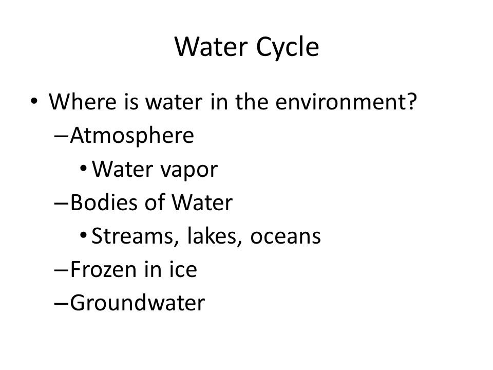 Water Cycle Where is water in the environment.
