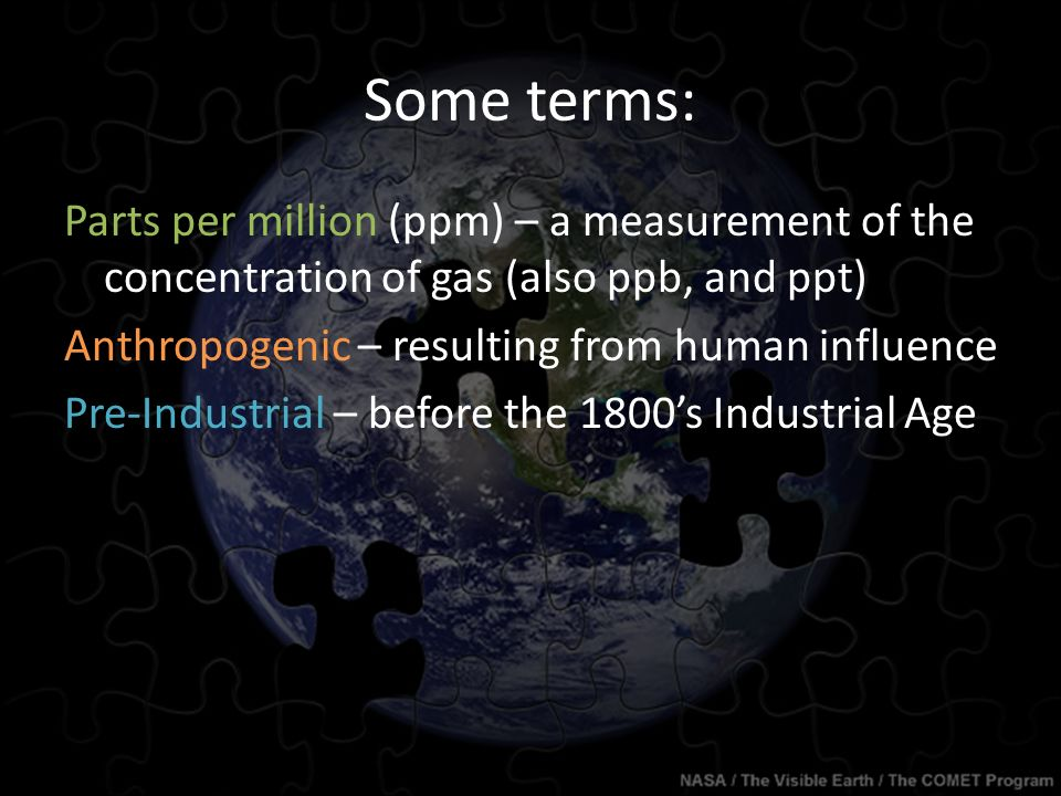 Some terms: Parts per million (ppm) – a measurement of the concentration of gas (also ppb, and ppt) Anthropogenic – resulting from human influence Pre-Industrial – before the 1800's Industrial Age