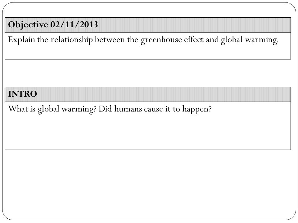INTRO Objective 02/11/2013 Explain the relationship between the greenhouse effect and global warming.