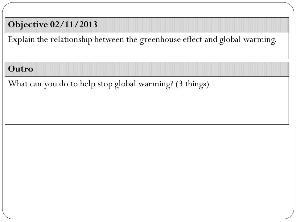 Objective 02/11/2013 Outro Explain the relationship between the greenhouse effect and global warming.