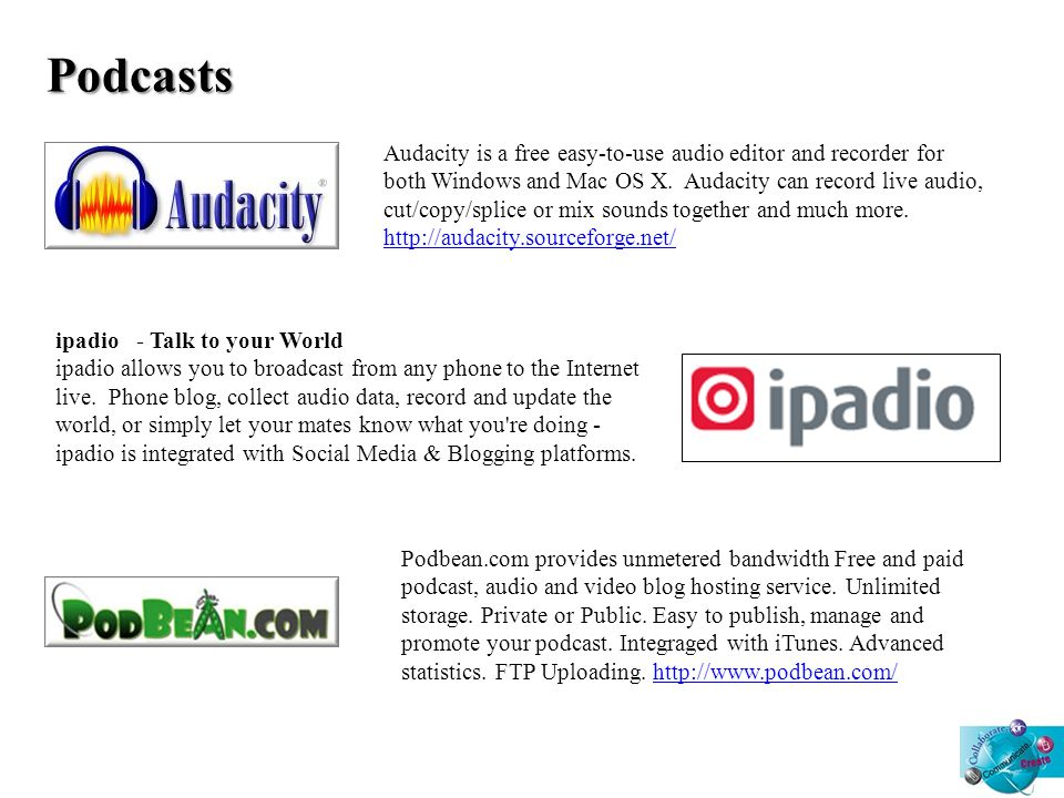 Podcasts Audacity is a free easy-to-use audio editor and recorder for both Windows and Mac OS X.