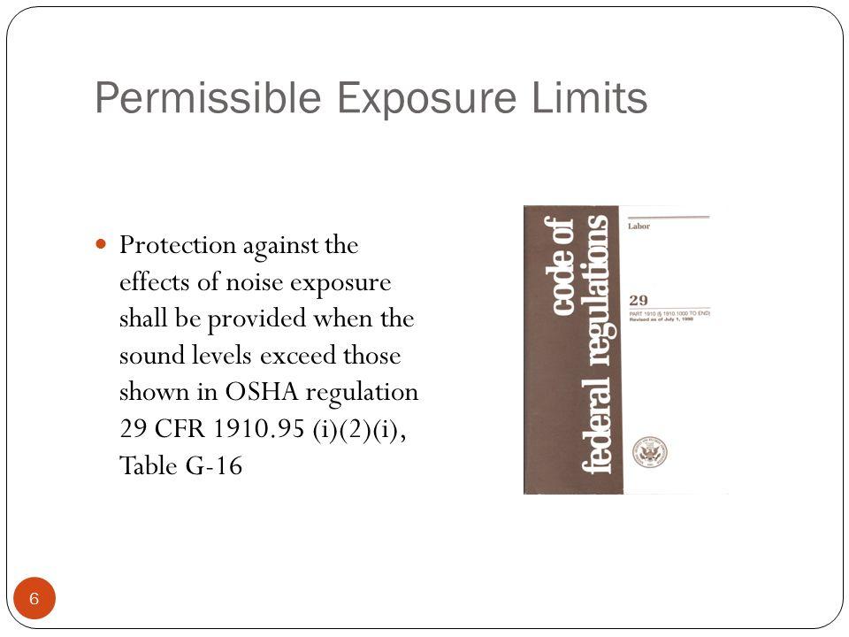 OSHA Regulation 29 CFR , Occupational Noise Exposure Hearing