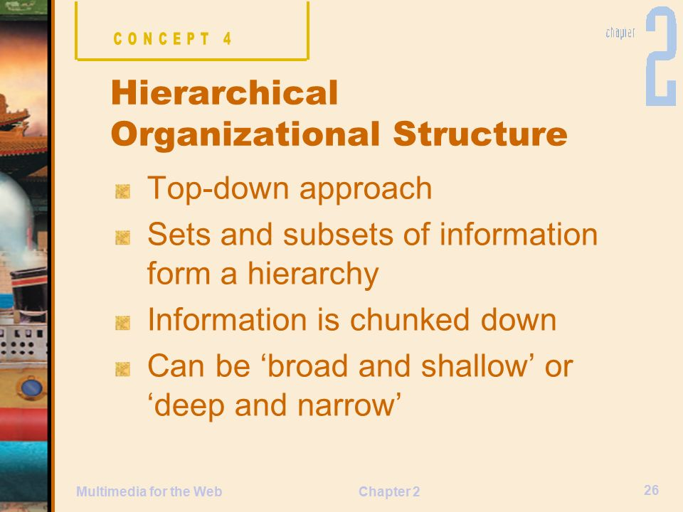 Chapter 2 26 Multimedia for the Web Top-down approach Sets and subsets of information form a hierarchy Information is chunked down Can be 'broad and shallow' or 'deep and narrow' Hierarchical Organizational Structure