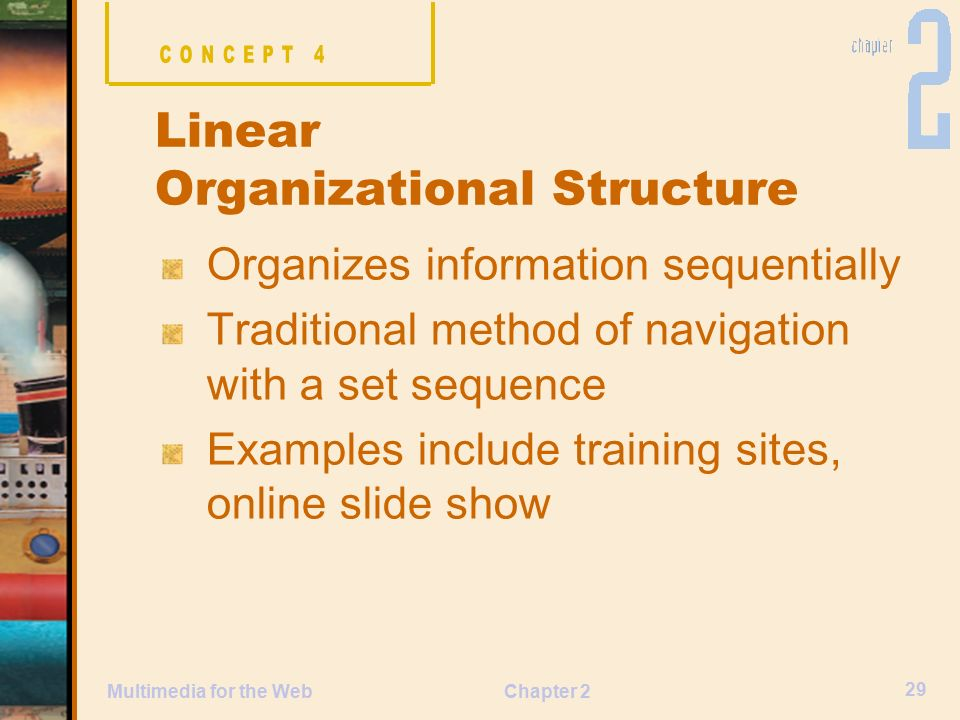Chapter 2 29 Multimedia for the Web Organizes information sequentially Traditional method of navigation with a set sequence Examples include training sites, online slide show Linear Organizational Structure