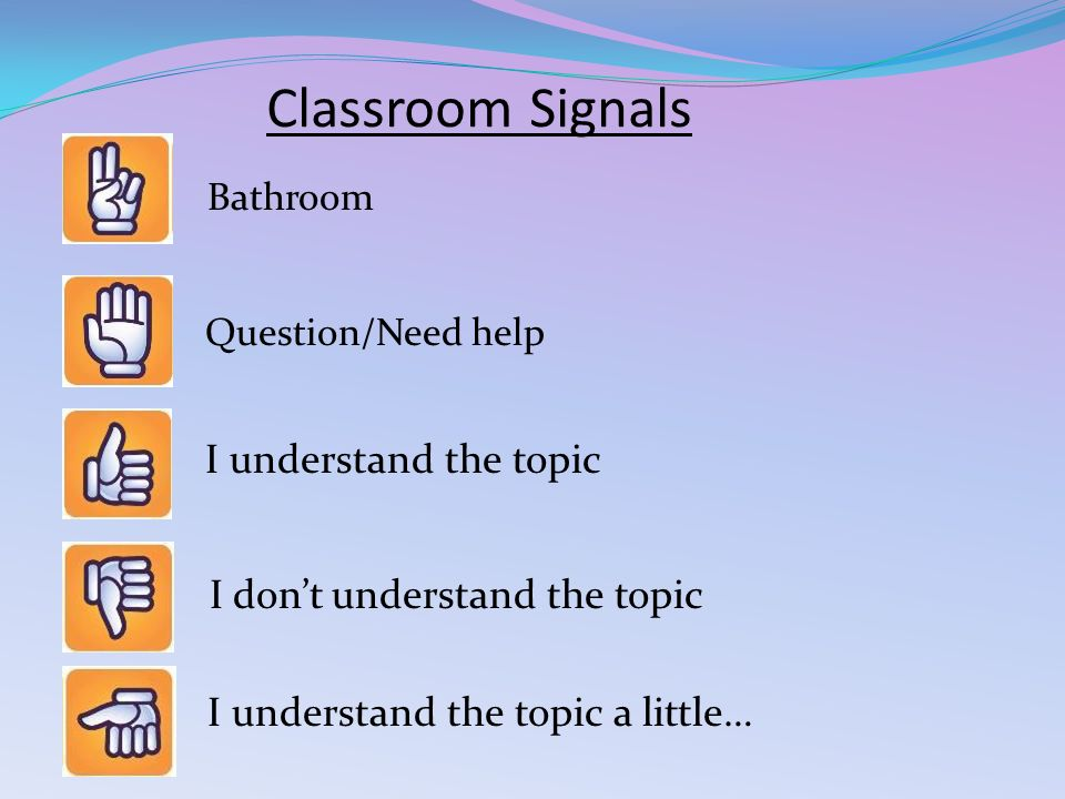 Classroom Signals Question/Need help I understand the topic I don't understand the topic I understand the topic a little… Bathroom