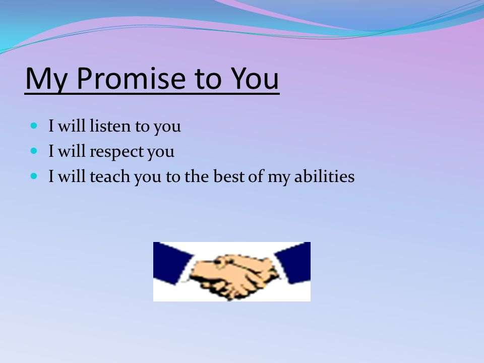 My Promise to You I will listen to you I will respect you I will teach you to the best of my abilities