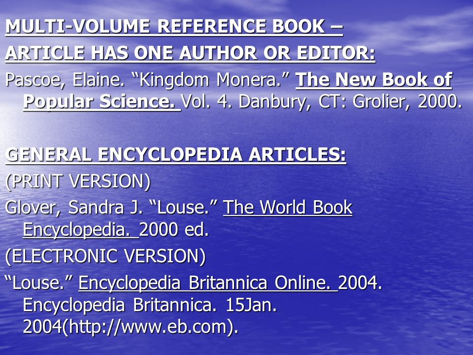 Research citation examples book with no author or editor the 3 multi volume reference ccuart Images