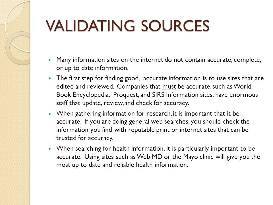 validating sources