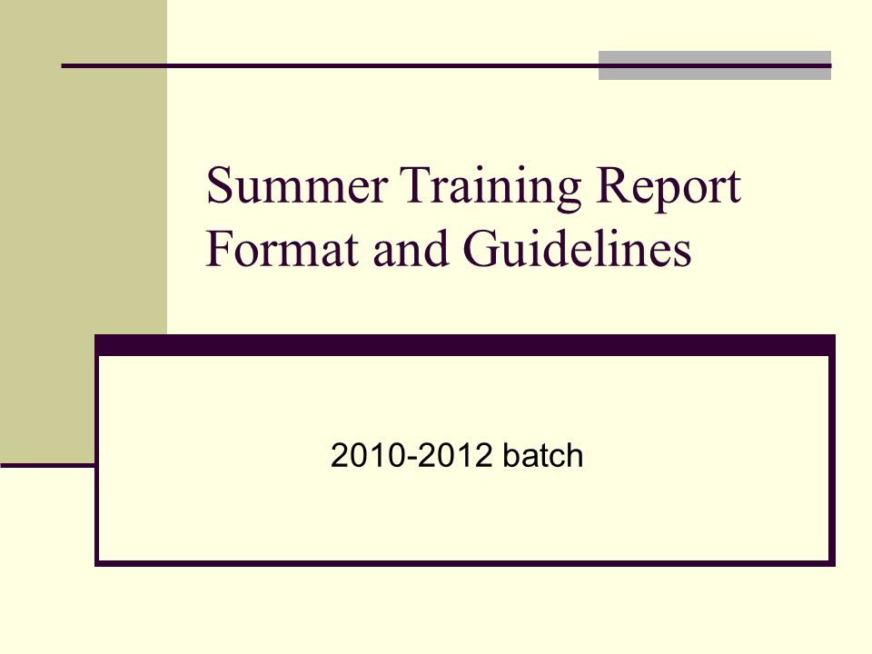 summer training report format