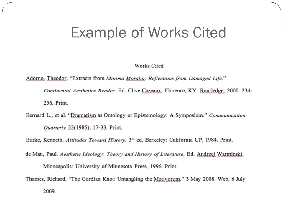 Example of Works Cited