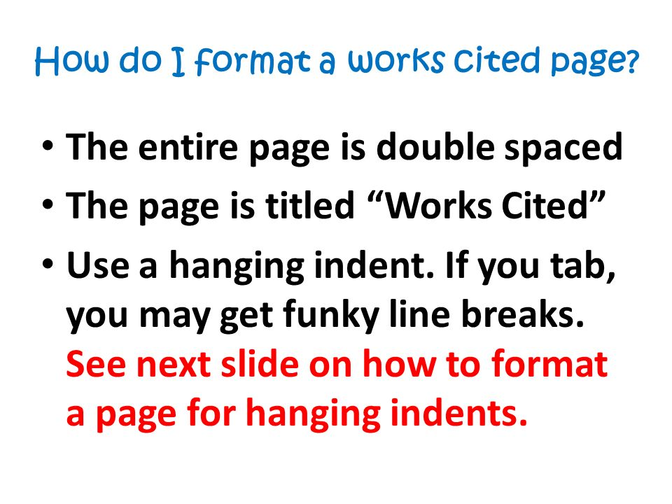 works cited page format
