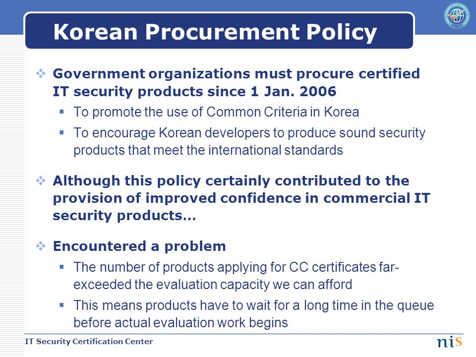 Updates On Korean Scheme It Security Certification Center National