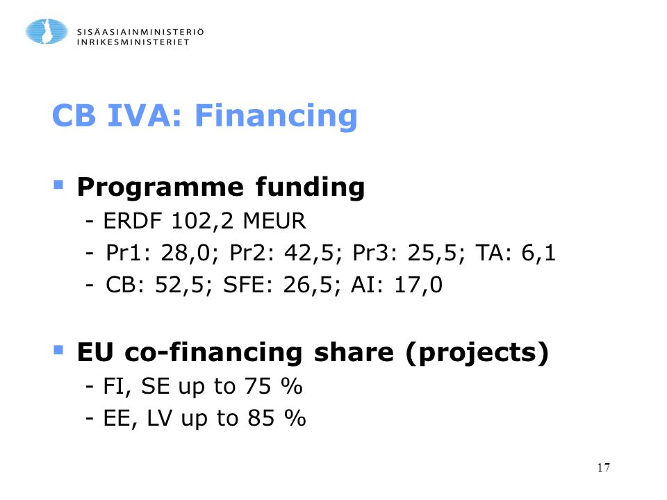 17 CB IVA: Financing  Programme funding - ERDF 102,2 MEUR -Pr1: 28,0; Pr2: 42,5; Pr3: 25,5; TA: 6,1 -CB: 52,5; SFE: 26,5; AI: 17,0  EU co-financing share (projects) - FI, SE up to 75 % - EE, LV up to 85 %