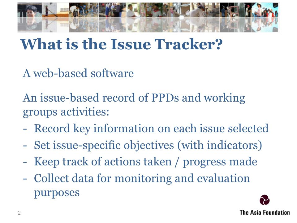 1 the online issue tracker 7th ppd global workshop public private