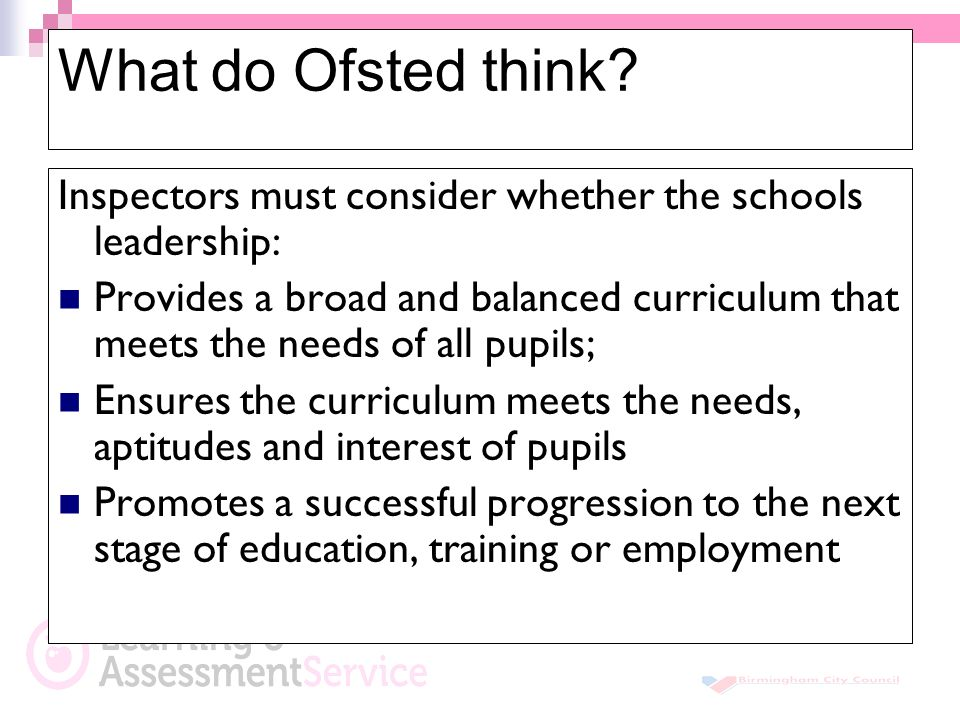 What do Ofsted think.