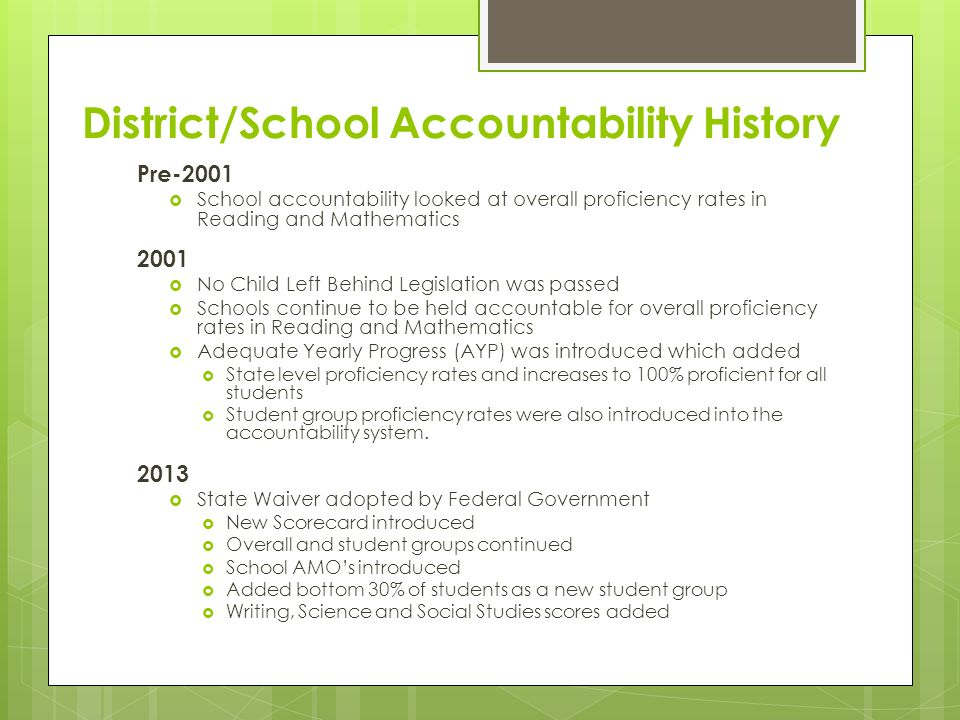 District/School Accountability History Pre-2001  School accountability looked at overall proficiency rates in Reading and Mathematics 2001  No Child Left Behind Legislation was passed  Schools continue to be held accountable for overall proficiency rates in Reading and Mathematics  Adequate Yearly Progress (AYP) was introduced which added  State level proficiency rates and increases to 100% proficient for all students  Student group proficiency rates were also introduced into the accountability system.