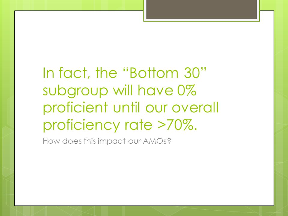 In fact, the Bottom 30 subgroup will have 0% proficient until our overall proficiency rate >70%.