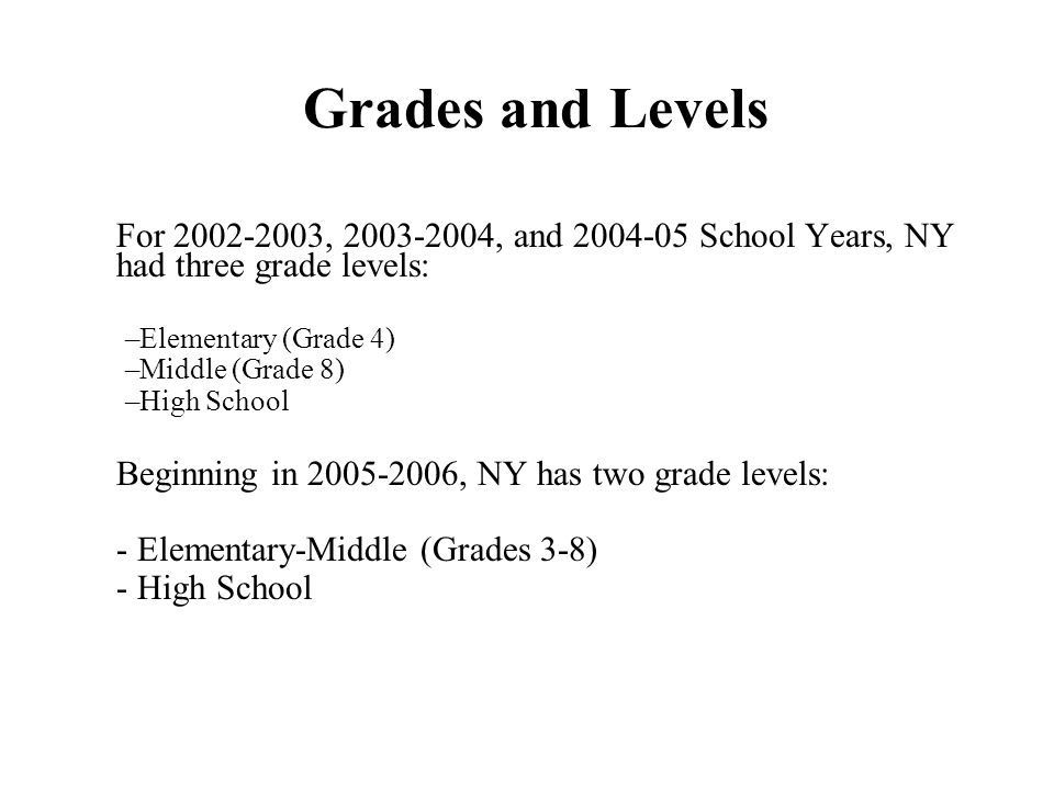 Grades and Levels For , , and School Years, NY had three grade levels: –Elementary (Grade 4) –Middle (Grade 8) –High School Beginning in , NY has two grade levels: - Elementary-Middle (Grades 3-8) - High School