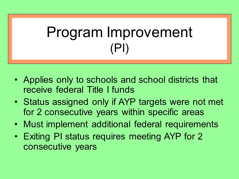 Program Improvement (PI) Applies only to schools and school districts that receive federal Title I funds Status assigned only if AYP targets were not met for 2 consecutive years within specific areas Must implement additional federal requirements Exiting PI status requires meeting AYP for 2 consecutive years