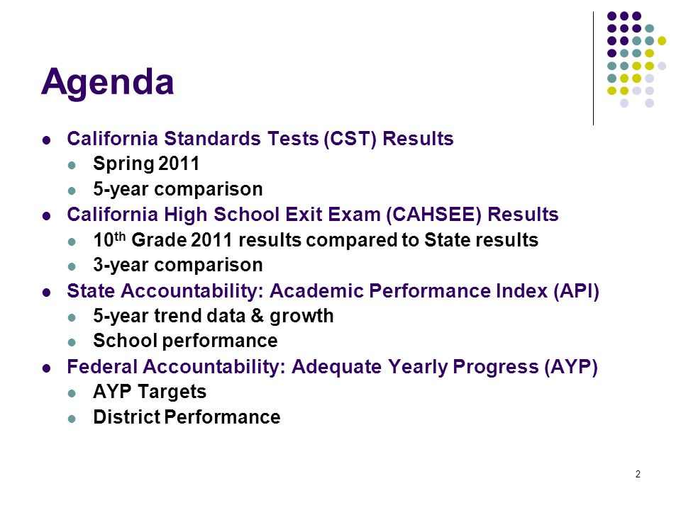 2 Agenda California Standards Tests (CST) Results Spring year comparison California High School Exit Exam (CAHSEE) Results 10 th Grade 2011 results compared to State results 3-year comparison State Accountability: Academic Performance Index (API) 5-year trend data & growth School performance Federal Accountability: Adequate Yearly Progress (AYP) AYP Targets District Performance