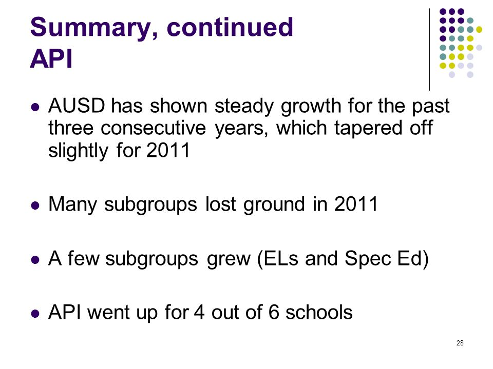 28 Summary, continued API AUSD has shown steady growth for the past three consecutive years, which tapered off slightly for 2011 Many subgroups lost ground in 2011 A few subgroups grew (ELs and Spec Ed) API went up for 4 out of 6 schools