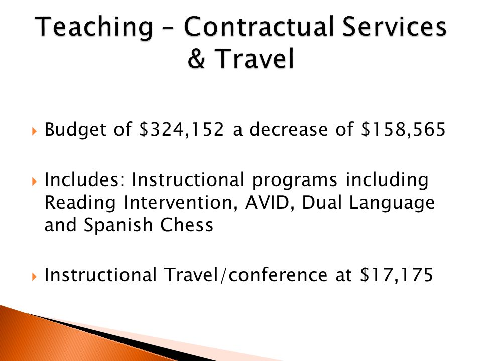  Budget of $324,152 a decrease of $158,565  Includes: Instructional programs including Reading Intervention, AVID, Dual Language and Spanish Chess  Instructional Travel/conference at $17,175