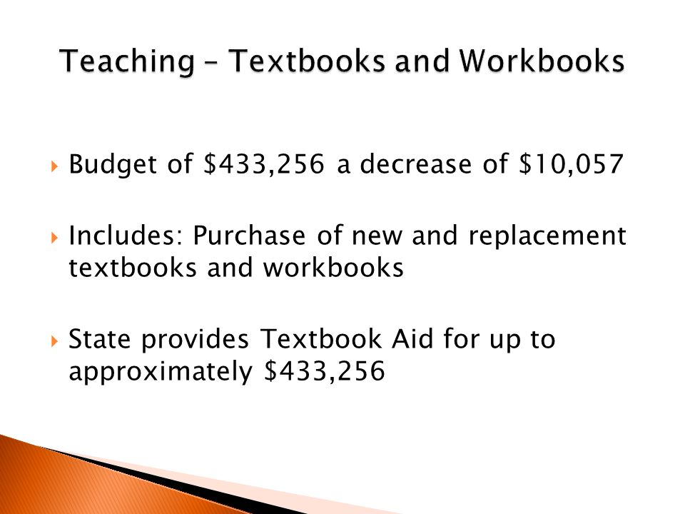  Budget of $433,256 a decrease of $10,057  Includes: Purchase of new and replacement textbooks and workbooks  State provides Textbook Aid for up to approximately $433,256