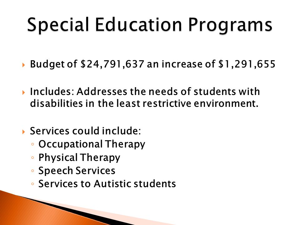  Budget of $24,791,637 an increase of $1,291,655  Includes: Addresses the needs of students with disabilities in the least restrictive environment.