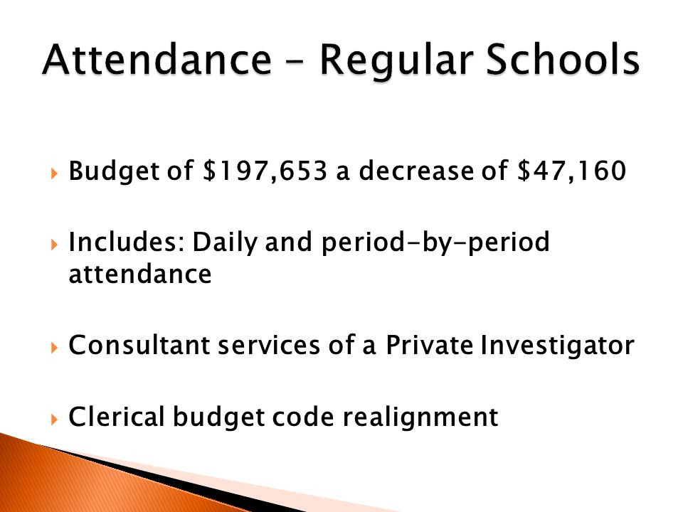  Budget of $197,653 a decrease of $47,160  Includes: Daily and period-by-period attendance  Consultant services of a Private Investigator  Clerical budget code realignment