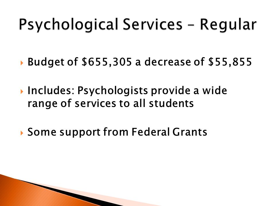  Budget of $655,305 a decrease of $55,855  Includes: Psychologists provide a wide range of services to all students  Some support from Federal Grants