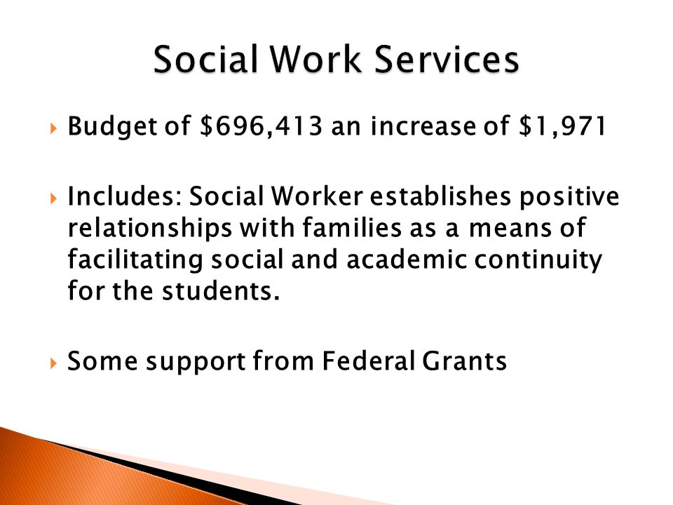  Budget of $696,413 an increase of $1,971  Includes: Social Worker establishes positive relationships with families as a means of facilitating social and academic continuity for the students.