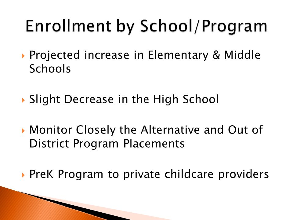  Projected increase in Elementary & Middle Schools  Slight Decrease in the High School  Monitor Closely the Alternative and Out of District Program Placements  PreK Program to private childcare providers