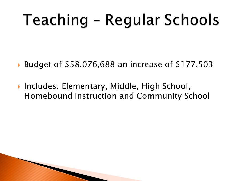  Budget of $58,076,688 an increase of $177,503  Includes: Elementary, Middle, High School, Homebound Instruction and Community School