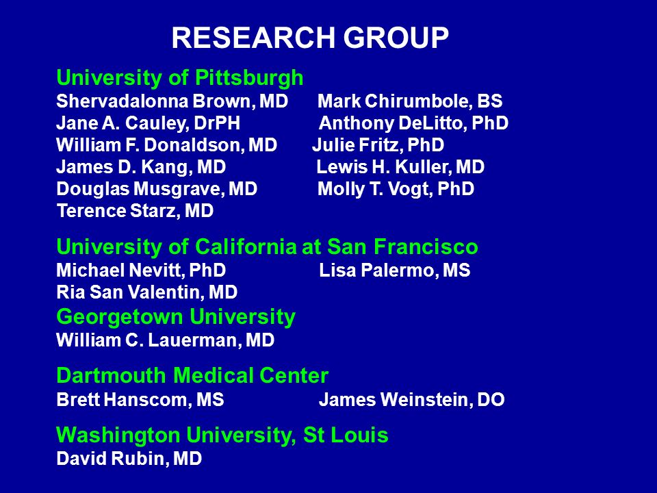 BACK PAIN AND LUMBAR STENOSIS IN OLDER ADULTS  RESEARCH GROUP