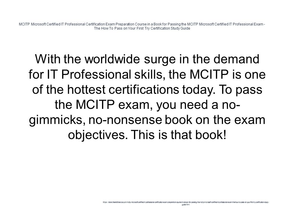 Mcitp Microsoft Certified It Professional Certification Exam