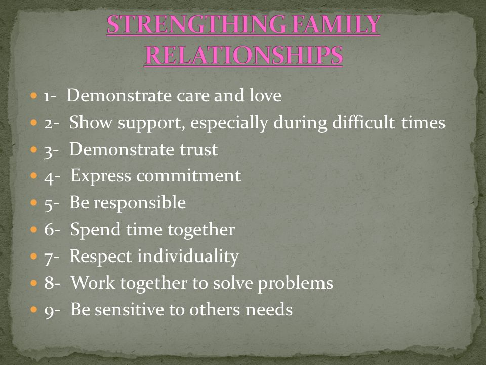 1- Demonstrate care and love 2- Show support, especially during difficult times 3- Demonstrate trust 4- Express commitment 5- Be responsible 6- Spend time together 7- Respect individuality 8- Work together to solve problems 9- Be sensitive to others needs