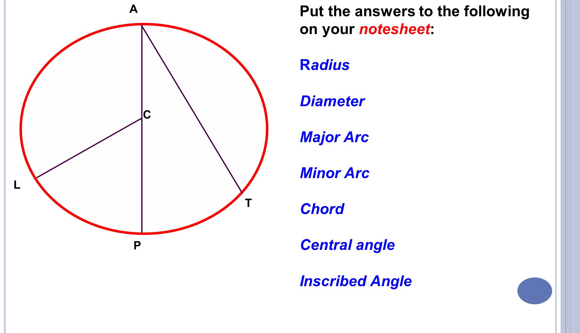 Geometry Review Sheet Circle Vocabulary Central And Inscribed Angles ...