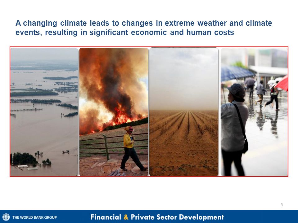 A changing climate leads to changes in extreme weather and climate events, resulting in significant economic and human costs 5