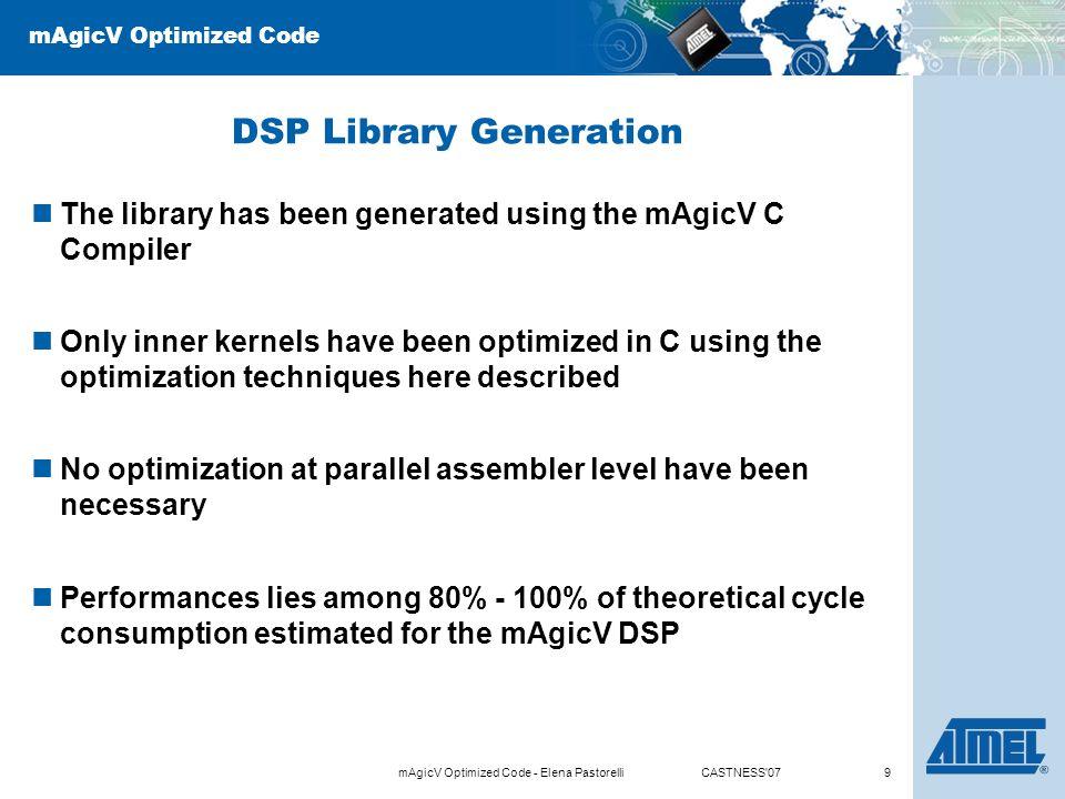 MAgicV Optimized Code Generation of optimized DSP library for mAgicV