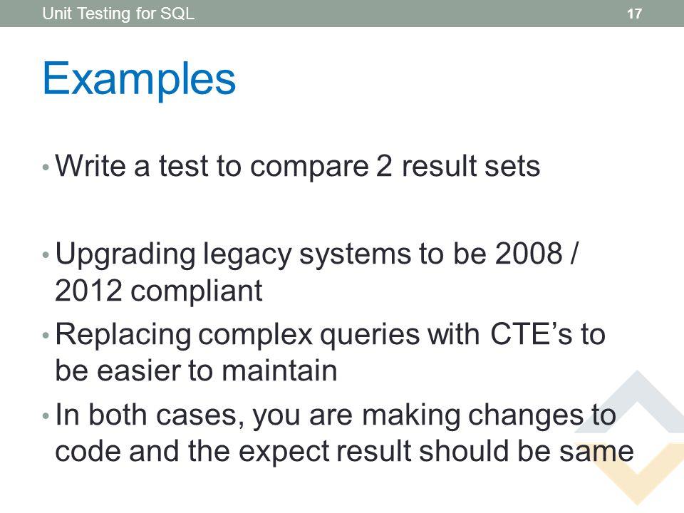 UNIT TESTING FOR SQL Prepared for SUGSA CodeLabs Alain King Paul