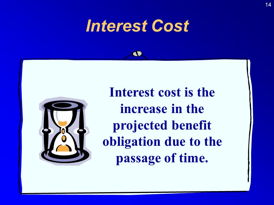 14 Interest cost is the increase in the projected benefit obligation due to the passage of time.