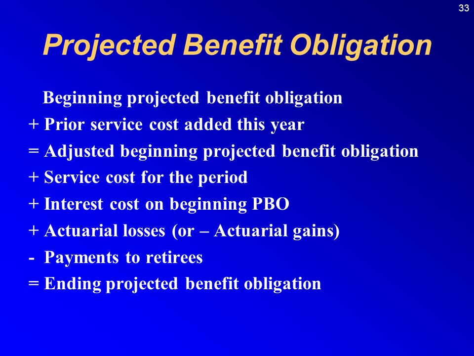 33 Projected Benefit Obligation Beginning projected benefit obligation + Prior service cost added this year = Adjusted beginning projected benefit obligation + Service cost for the period + Interest cost on beginning PBO + Actuarial losses (or – Actuarial gains) - Payments to retirees = Ending projected benefit obligation