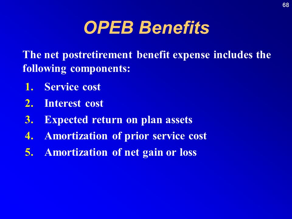68 1.Service cost 2.Interest cost 3.Expected return on plan assets 4.Amortization of prior service cost 5.Amortization of net gain or loss The net postretirement benefit expense includes the following components: OPEB Benefits